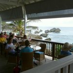 View from restaurant down to Bathsheba rocks