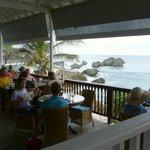 View from restaurant down to Bathsheba rocks