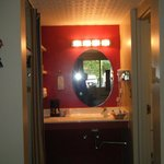 Looking at the vanity leading to the bathroom!