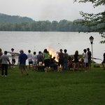 A bon fire is included in the weekly lodging for ball players.
