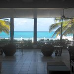 Hotel lobby looking at the ocean