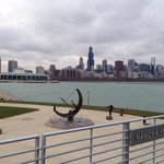Vista do skyline de chicago olhando do planetario