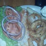 Walleye sandwich with greasy onion rings