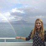 On the terrace outside the solarium at Hotel Regina overlooking Mount Vesuvius and the Mediterra