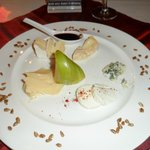Cheese platter with honey roasted nuts & thinly sliced apple