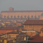 Zoomed in view of the Basilica San Petronino in Piazza Maggiore from our window