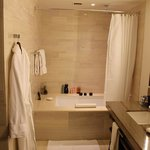 Huge, clean bathroom with a great shower