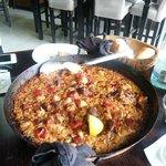 The paella con carne - main portion serves four