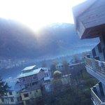 Glacier resort balcony view. ...