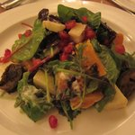 Butternut squash salad (small) with pomegranate, apple, pickled walnuts, and garlic dressing