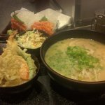 Combination meal Daikokuya ramen with tempura bowl...salad was complimentary..and a side of salm