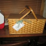 Breakfast arrives in a cute picnic basket