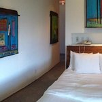 Colorful, fun paintings made the room so opulent!