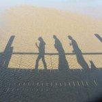 shadows on the bridge to beach