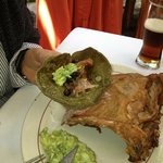 Roasted duck on a marvelous green tortilla.