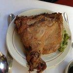Succulent roast goat.