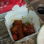 Our $10 General Tso's chicken. Half full container, abour 6-8 pieces of chicken (tiny portions).