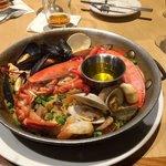 PAELLA VALENCIANA–1/2 Maine lobster, chorizo, shellfish, chicken & veggies