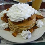 Fresh Cinnamon Apple Pancakes with whipped cream!