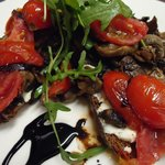Amalfie toast- Rye toast topped with a goats cheese spread, sauteed mushrooms and cherry tomatoe