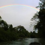 On the other side of the cave, after 45 minutes of intense darkness, a beautiful rainbow was awa