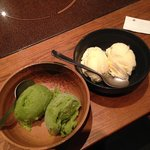 Green tea sorbet and vanilla ice cream