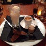 vanilla ice cream, espresso, a liquer of your choice with chocolate biscotti