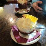 Caramel and a banana-hazelnut hot chocolates