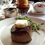 Filet Mignon with - Truffle Mash, Buttermilk Onion Rings & Mr Pete's Creamed Spinach