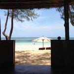 plage vue du bungalow