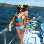 On a catamaran - wife is 70 years old - looks good!