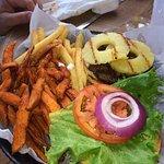 Hawaiian burger and both fries!!!sweet potato fries and regular!!!