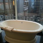 Jet tub and city view