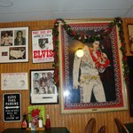 Pictures  of Elvis in the restaurant