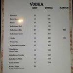 Vodka Menu