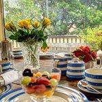 Enjoying Breakfast on the rear deck