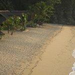 vue sur les lodges et la plage