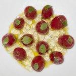 Tomato salad with gazpacho geletin
