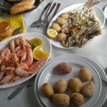 grilled fish and boiled shrimps - the perfect lunch