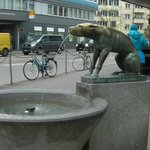 Look for the dog fountain for your tram stop