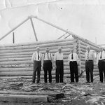 Founding members work on construction of first building on-site in 1938.