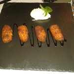 Croquettes of smoked cod served with a horseradish dressing.