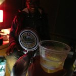 Mythos beer with the awesome bartender