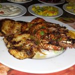 shrimps and grilled fish