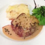 Fillet steak with green peppercorn sauce...