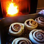 Maple Sticky Buns rising next to the pellet stove