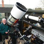 Peter with 11 inch telescope in roll off observatory