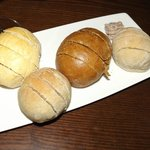 ... a quartet of herbed breads with olive butter
