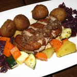 Five Spice Pan Seared Duck Breast    Served with scallion dauphine potatoes, vegetables and a so