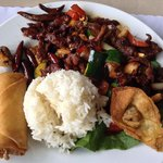 Kung pao beef lunch, with rice, egg roll, and won ton.
